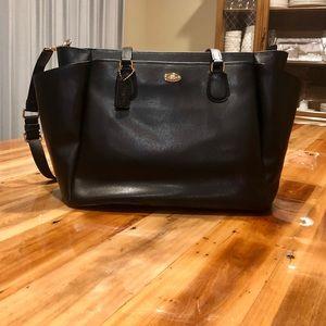 Coach Diaper Bag Black Leather